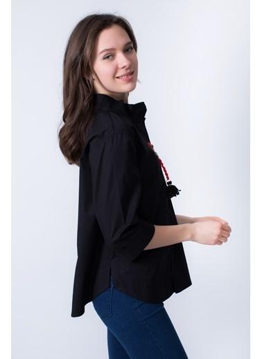 Clıche  Hakim Ve Ceket Yaka Detaylı Bluz Siyah
